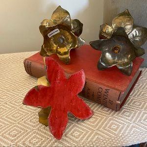 Vintage Accents - Vintage Brass Lotus Floral Candle Holder Gold